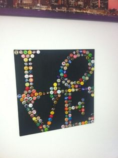 Bottle Cap Art LOVE by Beernation on Etsy, $200.00