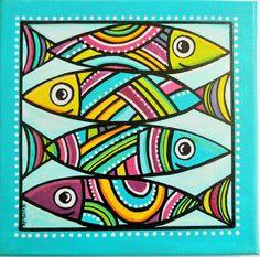 """""""Les Sardines"""" un tableau de poissons colorés : Décorations murales par sylphide"""