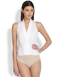 Donna Karan New York White Wrap Bodysuit Bodysuit Blouse, Bodysuit Fashion, White Bodysuit, Body Suit Outfits, Dress Outfits, Cool Outfits, White Nightgown, Pullover Shirt, Professional Attire
