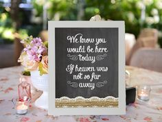 Wedding In Memory Of Sign Heaven Sign Chalkboard Printable 8x10 PDF Instant Download Burlap  Lace Rustic Shabby Chic Woodland