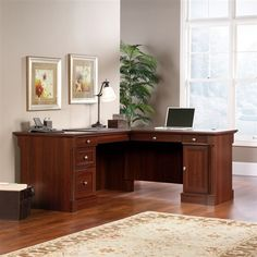 Modern Double Pedestal L-Shaped Desk in Cherry Finish