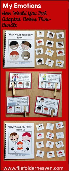"""This Emotions Adapted Books, """"How Would You Feel"""" Mini-Bundle focuses on understanding emotions and includes 2 """"How Would You Feel?"""" Adapted Books, and 1 set of """"How Would You Feel Task Cards?""""  In each activity, students are given a scenario and asked to identify the emotion that they would feel that situation.   The first adapted book, """"How Would You Feel?"""" 1, focuses on the identifying the following emotions/feelings:  happy, sad, angry, frustrated, excited, and sad."""