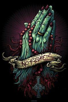 Tattoos Poster - No Regrets, Hands In Prayer, Cardxcore, Dan Mumford