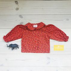 Vintage Baby Clothes, Peter Pan Collar Shirt 6 months, Floral Red Baby Girl Shirt, Retro Baby Top, Mod Style Baby Clothes, 70s Baby Products by ElleBelleVin on Etsy