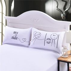 Her And His Side Pillow Case Christmas Romantic Anniversary Wedding Valentine's Gift for Him Or Her Super Soft Pillow Cover Online with $19.9/Pair on Beddingoutlet's Store   DHgate.com