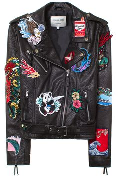 GROUND ZERO APPLIQUE PATCHES LEATHER JACKET Black leather biker jacket with patches. Made in Hong Kong. 100% Leather LIning: 100% Polyester. SIZE & FIT Fits true to size. LES BENJAMINS Ground-Zero is a creative fashion brand founded by Hong Kong based brothers Eri and Philip Chin in 2008.