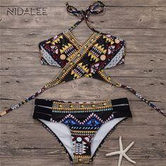 ee98bc31d20 10.68 30% de réduction|NIDALEE Nouvelle Bikinis Femmes Maillot de Bain  Maillots De Bain Sexy Bandage Bikini Brésilien Maillots De Bain Femmes Push  Up ...