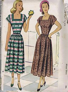 """SIZE 14 BUST 24 WAIST 26.5 HIP 35""""    Vintage 40s One Piece Dress Pattern    Dress pattern with dart fitted, two-piece bodice and flared skirt.  Square front neckline and cap sleeves."""