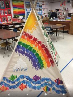 Teepee painted by students at Orchard Drive Elementary