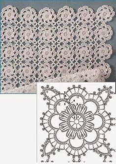 Delicate Crochet Motif - Free Crochet Diagram - (ivelisefeitoamao) by carlani Crochet Table Runner Pattern, Crochet Motif Patterns, Crochet Blocks, Crochet Tablecloth, Crochet Diagram, Crochet Squares, Crochet Chart, Thread Crochet, Crochet Doilies