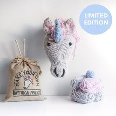 Faux Unicorn Knitting Kit - Make Your Own Mythical Friend - Taxidermy Trophy Head DIY Kit. These kits are mix and match, so you can choose your own colour way, and include special Sincerely Louise own brand yarn! This super chunky acrylic yarn makes for a fun knit and the kit includes everything you need to make your unicorn so look no further when hunting for your next project!