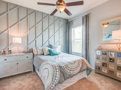 This bedroom's dynamic wall pattern adds dimension and character to the room. Gorgeous blue accents and shades of gray compliment perfectly. Click to see more of this beautiful model home. #DreamHome Williamson II by Highland Homes Creative Kids Rooms, Highland Homes, Bedroom Pictures, New House Plans, Florida Home, Wall Patterns, Blue Accents, Model Homes, Beautiful Models