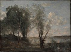 "Camille Corot (French, Paris 1796–1875 Paris ). Boatman among the Reeds, ca. 1865. The Metropolitan Museum of Art, New York. The Friedsam Collection, Bequest of Michael Friedsam, 1931(32.100.136) | This work is exhibited in the ""Unfinished: Thoughts Left Invisible"" exhibition, on view through September 4th, 2016. #MetBreuer"