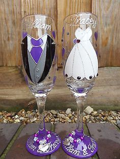 #Personalised hand painted glass #champagne #flutes bride and groom wedding ,  View more on the LINK: 	http://www.zeppy.io/product/gb/2/252294318189/
