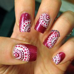 Concentrically Dotted #flightofwhimsy Maroon polish with pretty dotted design using dotting tools for nailart -bellashoot.com
