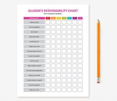Customizable, printable chore chart for your kids! Print for use at home each week or laminate to be able to reuse with a dry erase marker or
