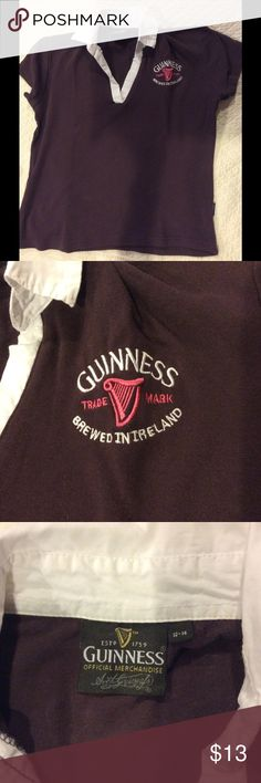 """Guinness polo shirt, purple w/embroidered logo Cute polo shirt. Dark purple with the Guinness logo embroidered on the chest in pink and white. Tag size EU 12-14, equates to a woman's small. Measures 18"""" pit to pit, 20"""" shoulder to hem. 100% cotton jersey. Official Guinness merchandise, purchased at the Guinness brewery in Dublin. Guinness Tops Tees - Short Sleeve"""