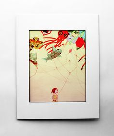 8x10 Japanese Kite color art print Bright Colorful by stasiab