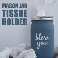 Ditch the cardboard tissue box for this mason jar tissue holder. Great for bathrooms, bedrooms and living rooms where you'd like a little more style! #recycledcraft #masonjar #masonjarcrafts #bathroom #homedecor #diy #diyhomedecor #upcycle
