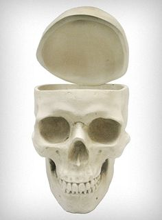 White Human Skull Shaped Box.  New sweets jar, umm yes!