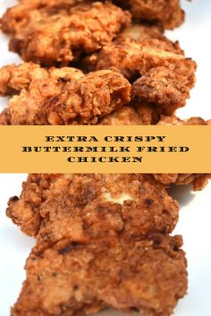 Extra Crispy Buttermilk Fried Chicken is the king of all comfort foods. The combination of crisp, crunchy, breading and moist, juicy, meat is the culinary equivalent of a hug from your grandmother. Crispy Oven Fried Chicken, Crispy Oven Fries, Buttermilk Fried Chicken, Fried Chicken Recipes, Fries In The Oven, Paula Dean Fried Chicken, Roasted Chicken, Buttermilk Recipes, Chicken Chick