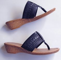 TUSCANY Easy Street Venice Thong Black Wedge Braided Sandals