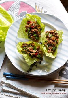 Thai-style lettuce wraps with lime juice, shallots, green onions, ginger, garlic, chile powder, and cilantro. Can also add quinoa or mix the sauce with aready-cooked chicken for a fun chicken salad recipe