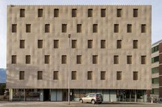 Brickwork assembled by robots form wavy facades across these apartment blocks in Locarno, Switzerland, by local firm Buzzi Studio Di Architettura Brick Architecture, Architecture Magazines, Architecture Office, Contemporary Architecture, Therme Vals, Retail Branding, Architectural Materials, Concrete Stone, Residential Complex