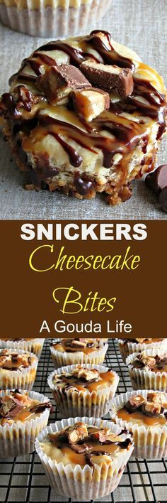 Snickers Cheesecake Bites recipe ~ easy mini dessert ~ A Gouda Life Snickers Cheesecake Bites ~ easy decadent bite sweet-salty dessert. Pretzel crust topped with creamy cheesecake, chocolate ganache and caramel. Cheesecake Aux Snickers, Snickers Torte, Cheesecake Bites, Cheesecake Recipes, Snickers Candy, Raspberry Cheesecake, Mini Desserts, Easy Desserts, Dessert Recipes