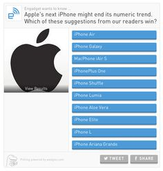 #Apple's next iPhone might end its numeric trend. Which of these suggestions from our readers win?