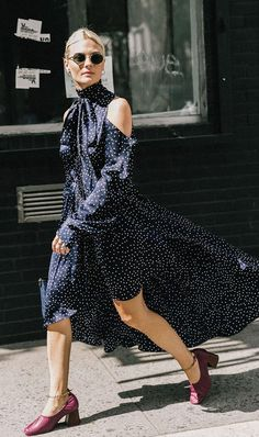 Blue with white polka dot casual summer dress. I'd prefer a different neckline for myself.
