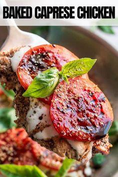 Chicken Recipes, Chicken Ideas, Turkey Recipes, Baked Caprese Chicken, Easy Dinner Recipes, Easy Recipes, Easy Weeknight Dinners, Main Meals, Tasty Dishes