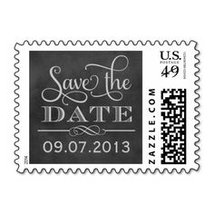 Wedding Save the Date | Vintage Chalkboard Postage