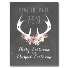 Floral Antlers + Chalkboard Inspired Save The Date Postcard