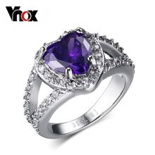 Trendy heart engagement wedding rings for women jewlery party rings fashion purple stone rings for women free shipping(China (Mainland))