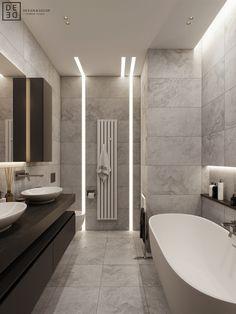 DEDE/Emerald apartment on Behance Bathroom Design Small, Bathroom Interior Design, Modern Bathroom, Vagas Home Office, Mesa Home Office, Bathroom Design Inspiration, Design Ideas, Home Gadgets, Ceiling Design