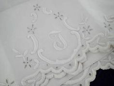 Antique Fine Pure Linen Embroidered Monogrammed J or T Pillowcases | Vintageblessings
