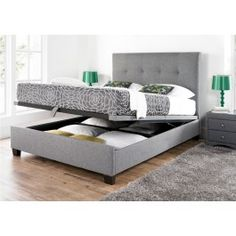 Sleep Sanctuary // Kaydian Walkworth Ottoman Storage Bed - Smoke Fabric - $499.00