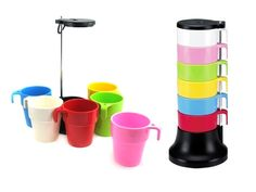 6 Pieces Melamine Stackable Rainbow Cup Set