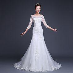 Ball Gown/Trumpet/Mermaid Scoop Floor-length Wedding Dress ( Tulle ) – USD $ 179.99