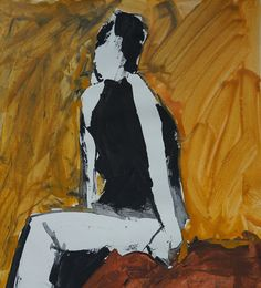 Woman in trousers sitting. Background in warm by ankaGilding