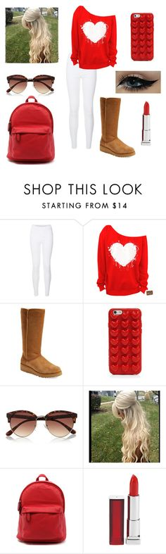 """""""School 7"""" by sarakaser ❤ liked on Polyvore featuring New Look, UGG Australia, Marc Jacobs, River Island and Maybelline"""