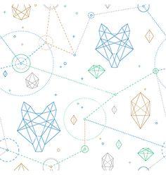 Hipster wolf pattern vector geometric design - by Reinekke on VectorStock®