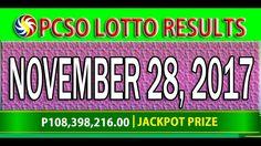 PCSO Lotto Results November 28, 2017 (6/58, 6/49, 6/42, 6D, SWERTRES & E... Lotto Results, Lottery Tips, Youtube, November 23, Youtubers, Youtube Movies
