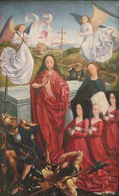 THE MASTER OF THE DREUX-BUDÉ TRIPTYCH, PROBABLY ANDRÉ d'YPRES, The Resurrection with Jeanne Peschard and her daughters presented by St Catherine, Musée Fabre, Montpellier (Right wing of original triptych)