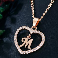 Best Seller Romantic Love Pendant Necklace For Girls 2019 Women Rhinestone Initial Letter Necklace Alphabet Gold Collars Trendy New Charms Letter Pendant Necklace, Letter Pendants, Initial Pendant, Initial Necklace, Heart Pendants, Custom Jewelry, Unique Jewelry, Unique Rings, Jewelry Gifts