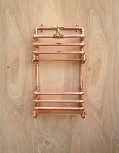 Copper Magazine Rack Wall Storage Rack Industrial por MacAndLexie