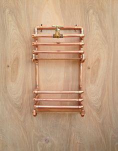 Copper Magazine Rack, Wall Storage Rack Industrial Design Copper Pipe, Man Cave Office Decor, Copper Kitchen Rack, Steampunk Design, For Him