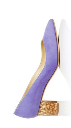 SARAH FLINT Purple Suede Emma Pumps With Detailed Heel
