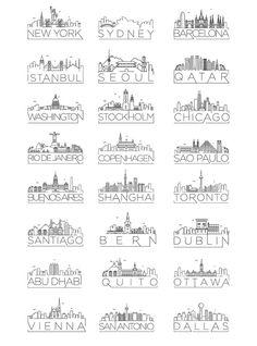 Kürsat Ünsal – Graphic Designer & Illustrator – Minimal City Skylines – – My World Stylo Art, Skyline Design, City Skyline Art, City Drawing, Skyline Silhouette, Silhouette City, City Icon, City Illustration, Medical Illustration